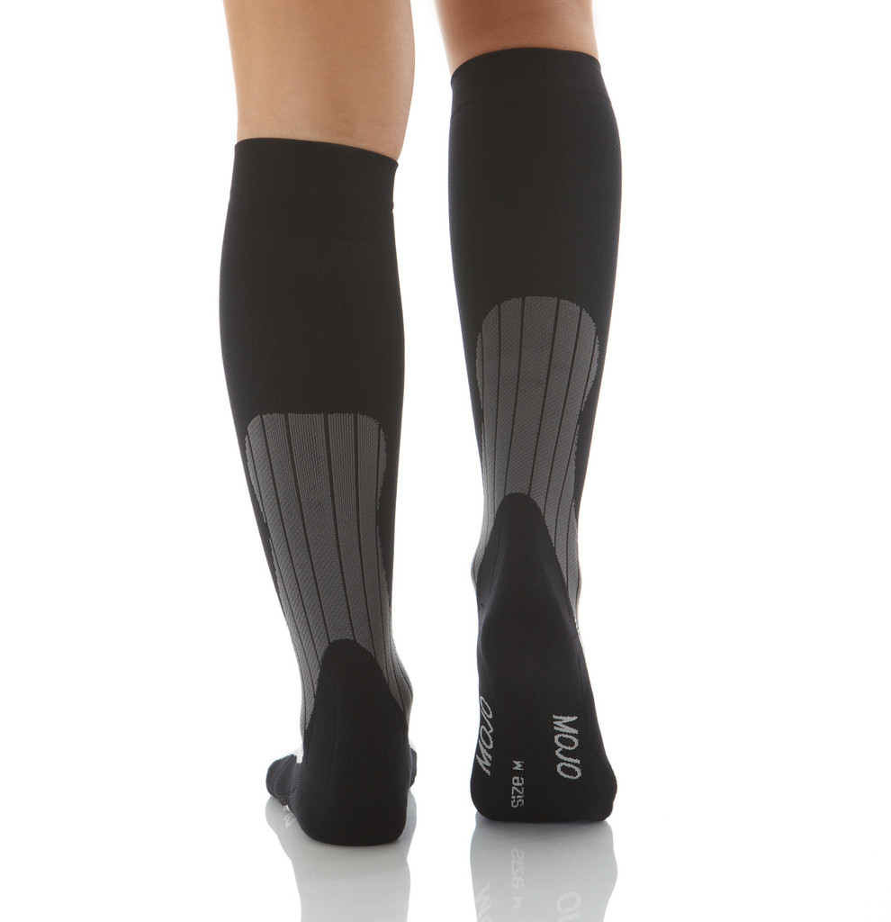 A608BG, Firm Support (20-30mmHg) Black Knee High Compression Socks, Back View