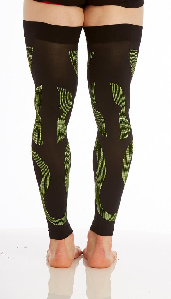 A609BG, Firm Support (20-30mmHg) Black Green Knee High Compression Socks, Back View