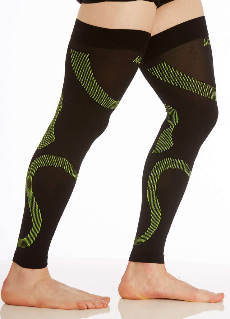 A609BG, Firm Support (20-30mmHg) Black Green Knee High Compression Socks, Rear View