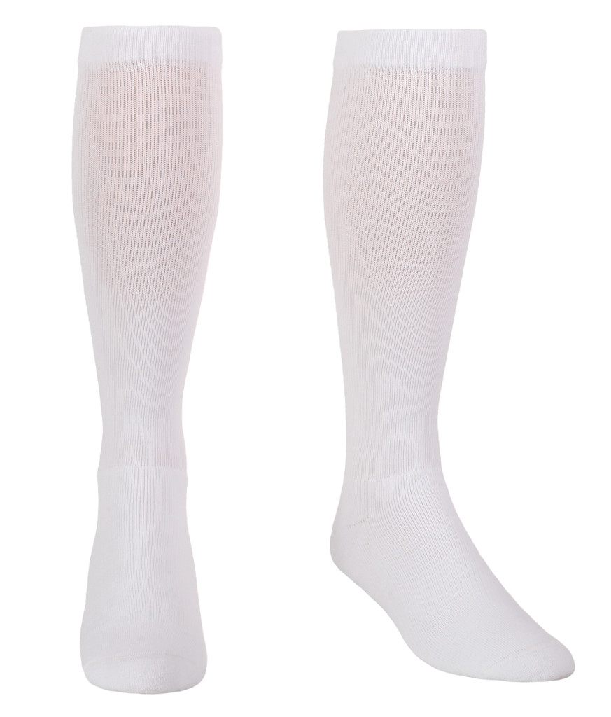 A114WH, Firm Support (20-30mmHg) White Knee High Compression Socks, Rear View