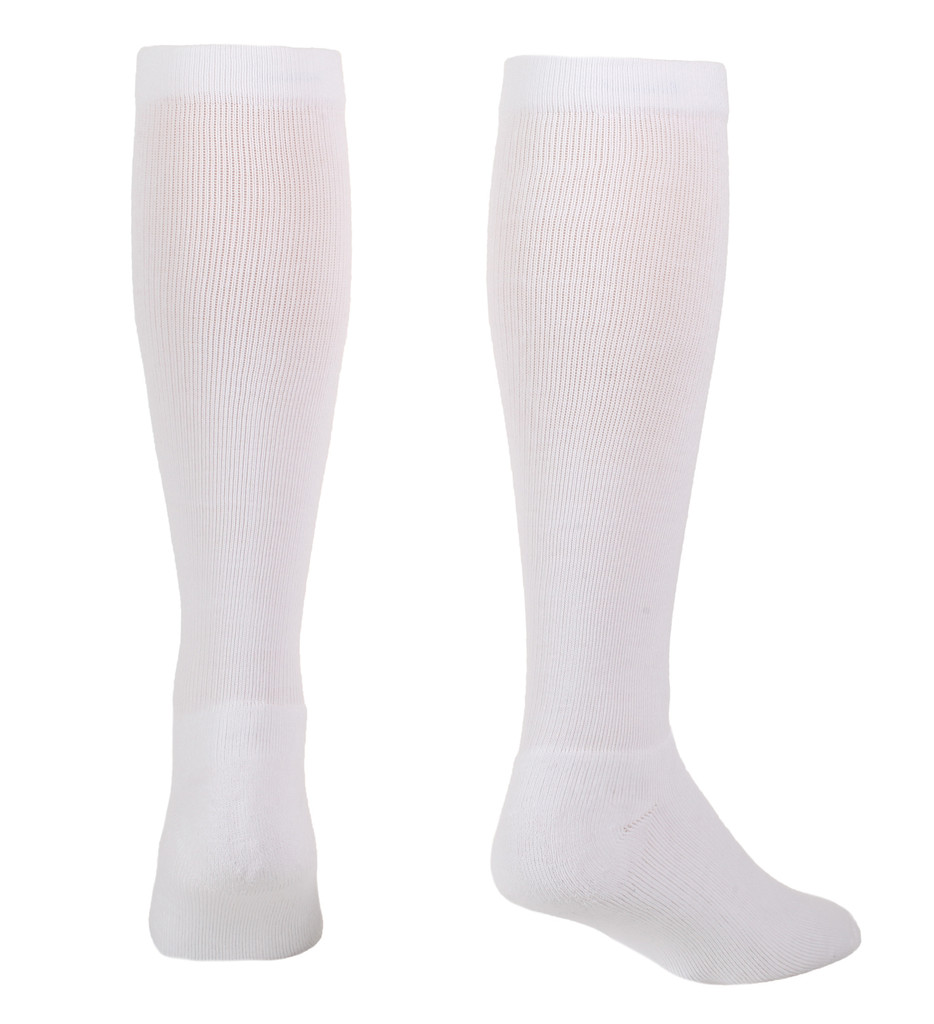 A114WH, Firm Support (20-30mmHg) White Knee High Compression Socks, Back View