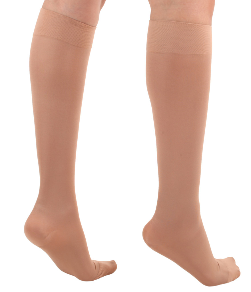 A231LB, Firm Support (20-30mmHg) Light Beige Knee High Compression Socks, Back View