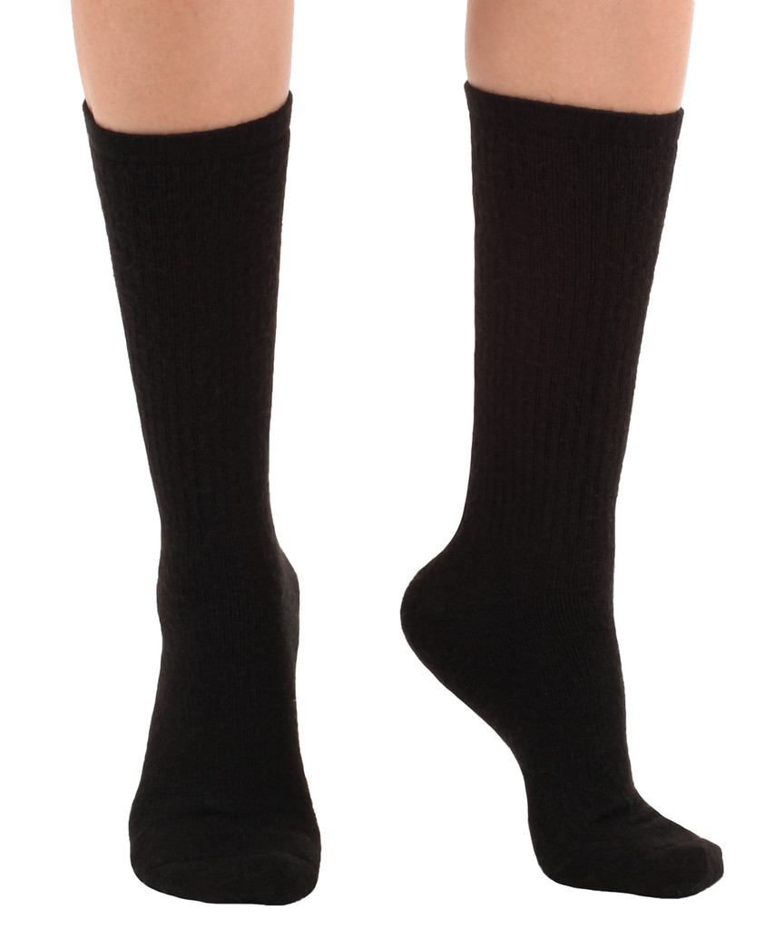 A1017BL, Light Support (8-15mmHg) Black Knee High Compression Socks, Rear View