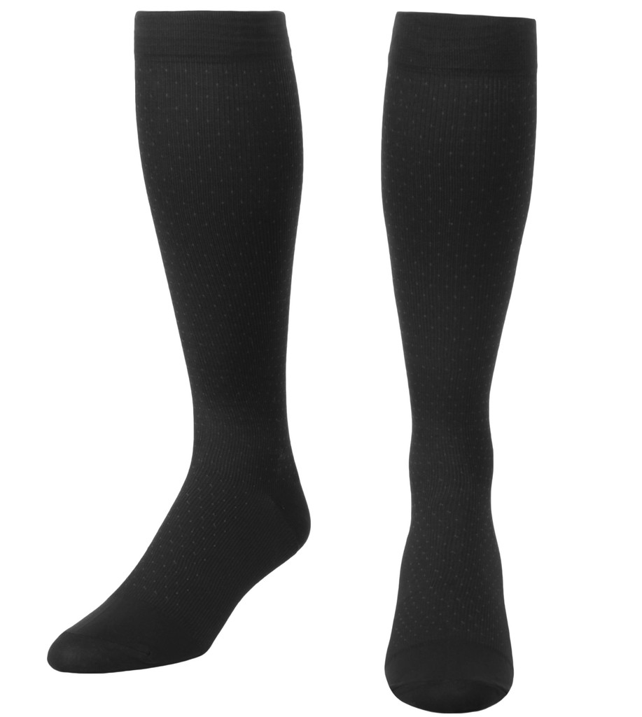 A902BL, Medium Support (15-20mmHg) Black Knee High Compression Socks, Front View
