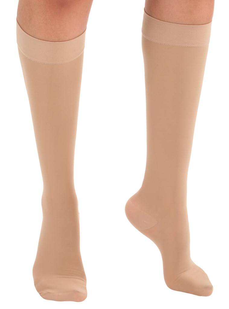A2013NU, Firm Support (20-30mmHg) Natural Knee High Compression Socks, Rear View