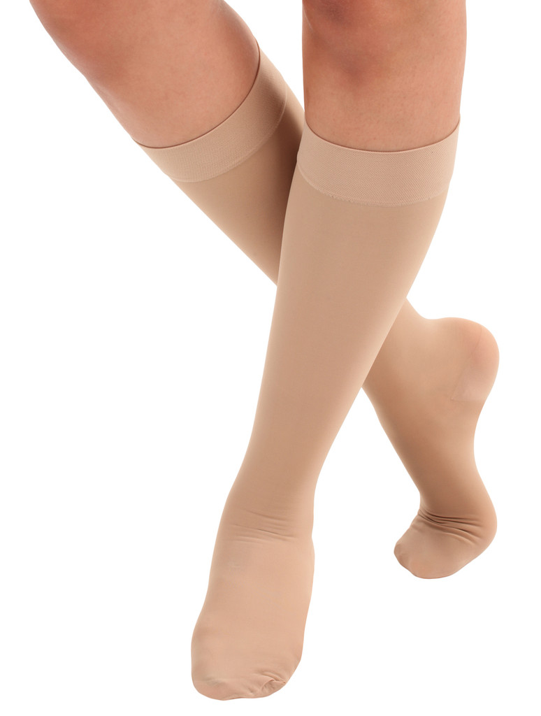 A2013NU, Firm Support (20-30mmHg) Natural Knee High Compression Socks, Front View
