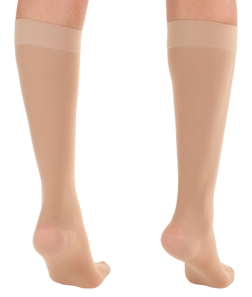 A2013NU, Firm Support (20-30mmHg) Natural Knee High Compression Socks, Back View