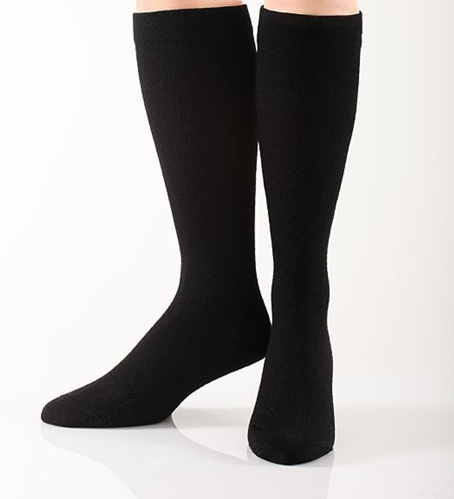 A905BL, Firm Support (20-30mmHg) Black Knee High Compression Socks, Front View