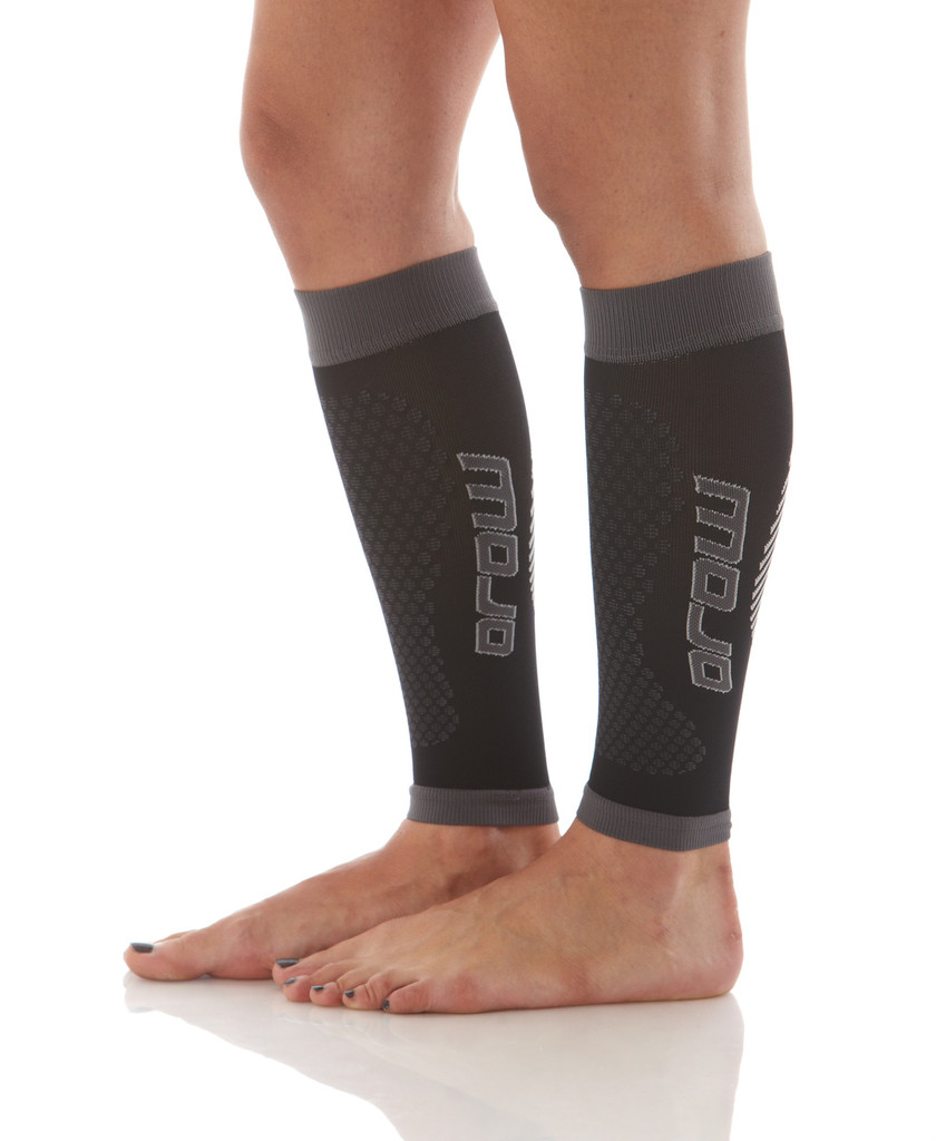 A606BG, Firm Support (20-30mmHg) Black Knee High Compression Socks, Side View