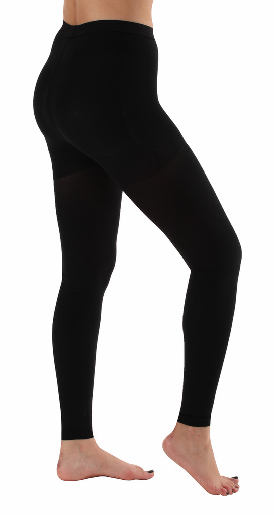 A717BL, Firm Support (20-30mmHg) Black Knee High Compression Socks, Rear View