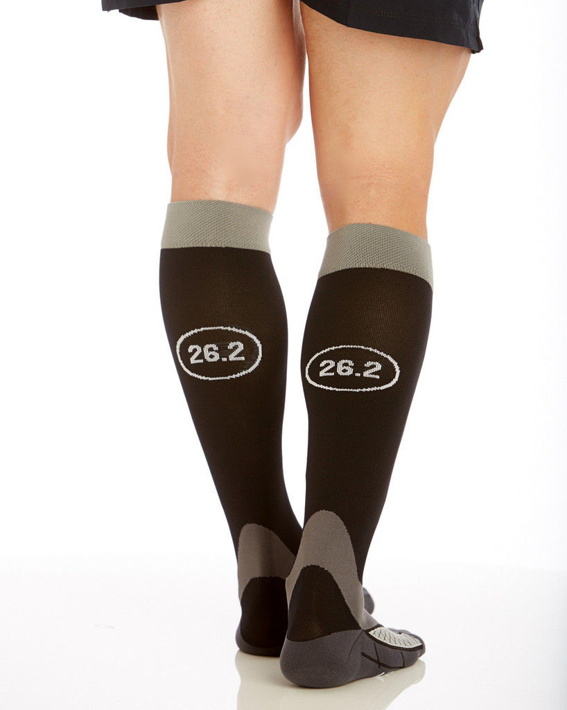 M803, Firm Support (20-30mmHg) Black Knee High Compression Socks, Back View