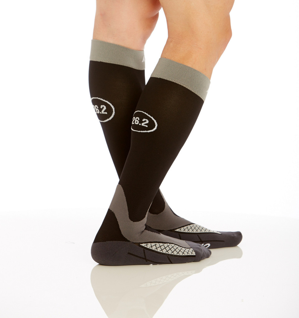 M803, Firm Support (20-30mmHg) Black Knee High Compression Socks, Rear View