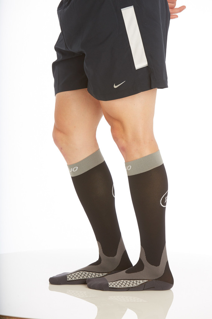M803, Firm Support (20-30mmHg) Black Knee High Compression Socks, Side View