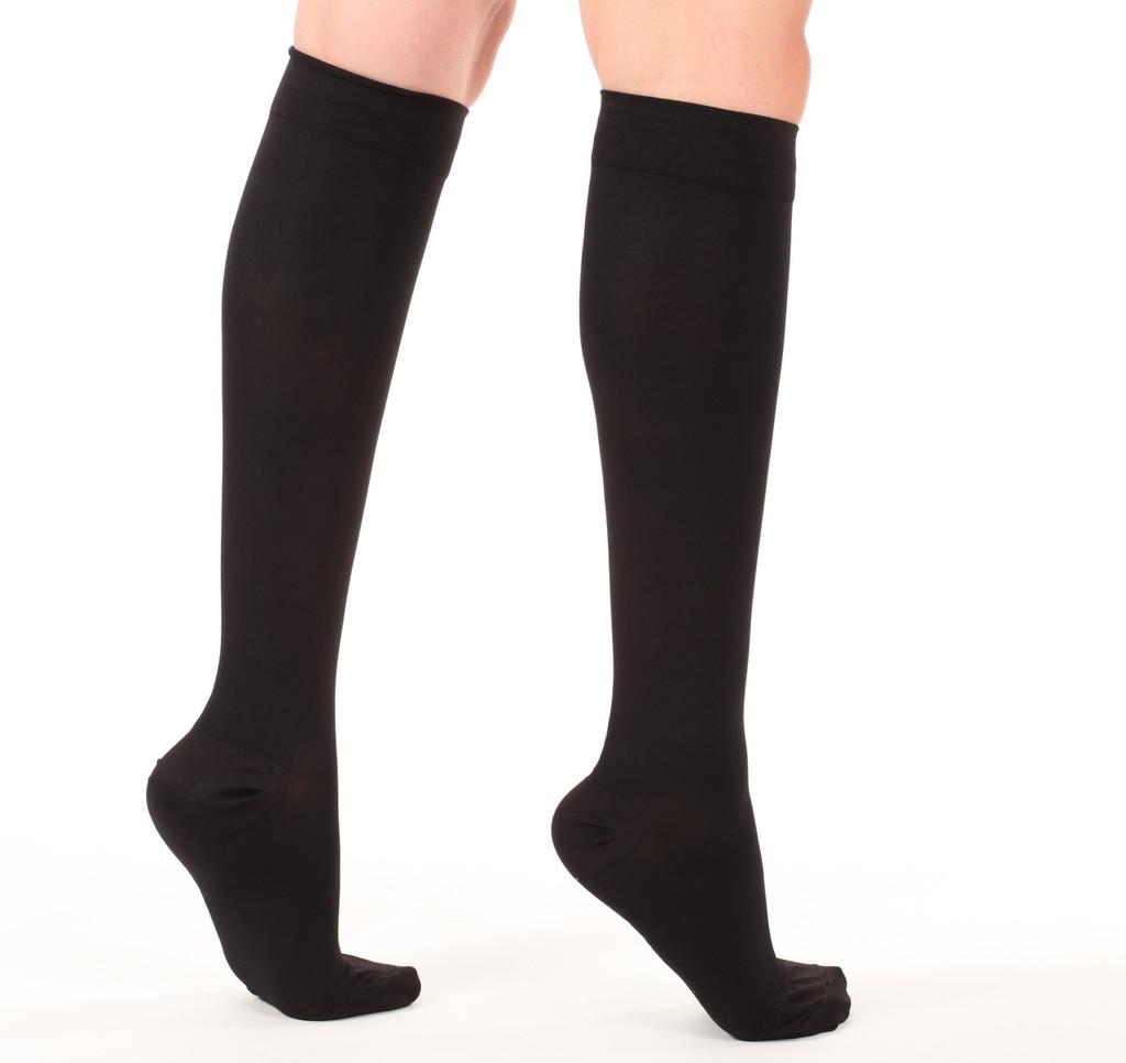 A201BL, Firm Support (20-30mmHg) Black Knee High Compression Socks, Black View