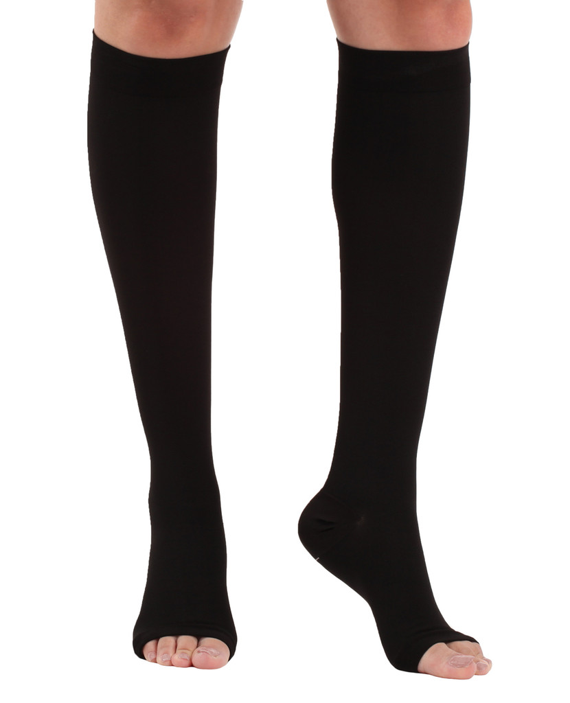 A211BL, Firm Support (20-30mmHg) Black Knee High Compression Socks, Rear View