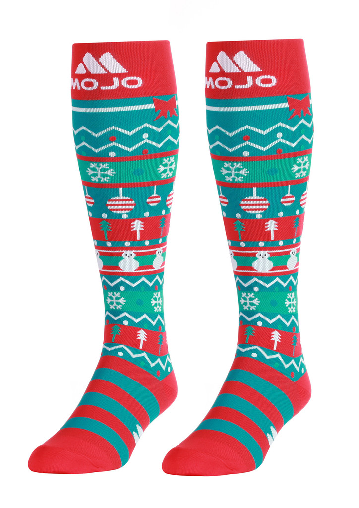 M906CB, Firm Support (20-30mmHg) Christmas Knee High Compression Socks, Front View