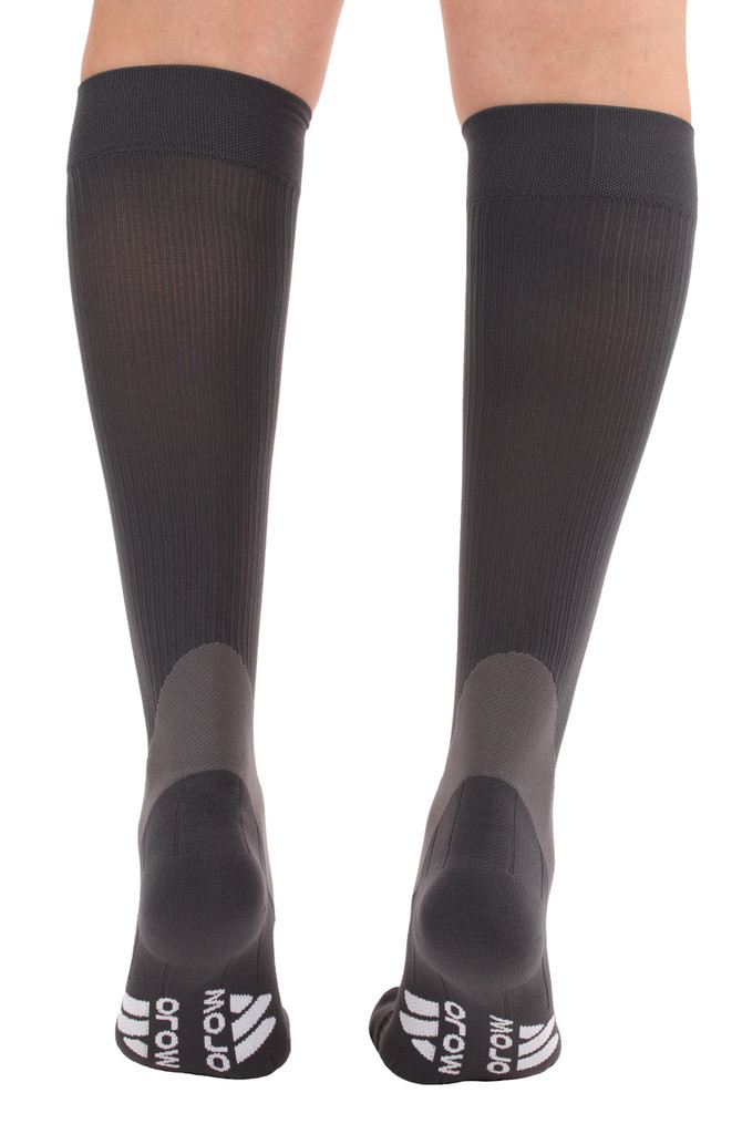 A601GR, Firm Support (20-30mmHg) Gray Knee High Compression Socks, Back View