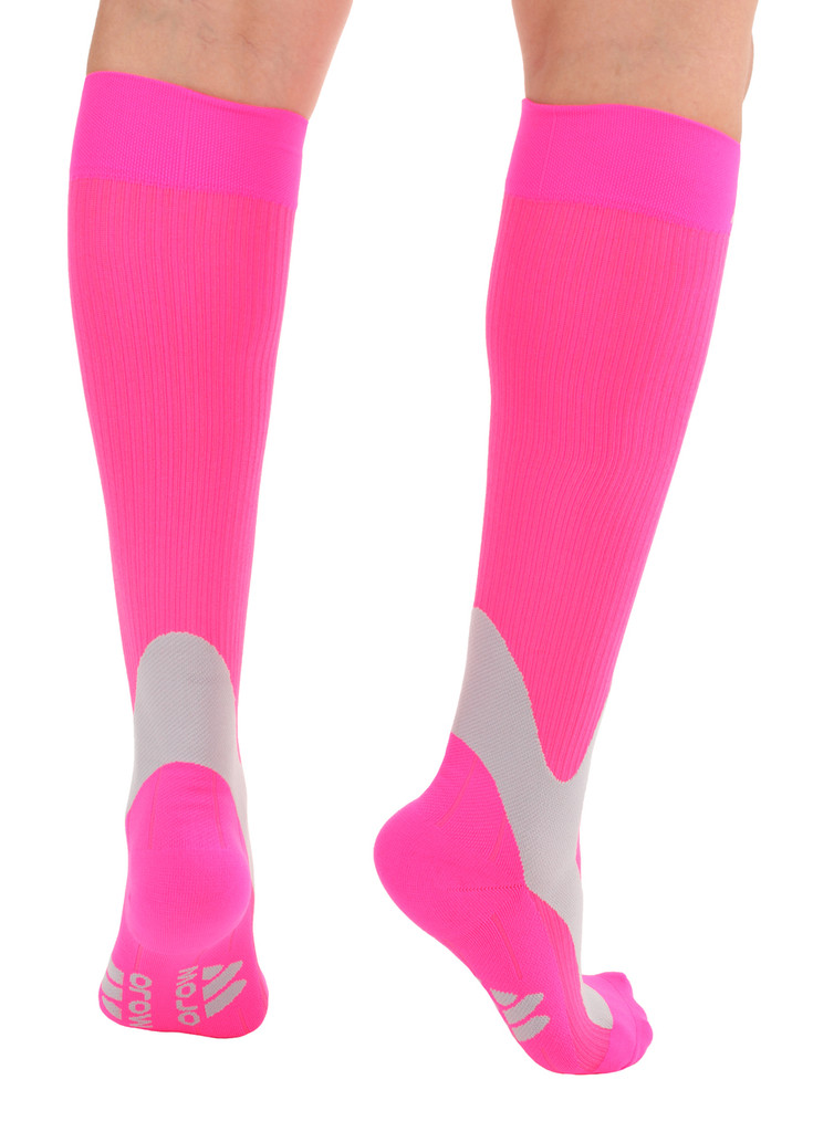 A601HP, Firm Support (20-30mmHg) Hot Pink Knee High Compression Socks, Back View