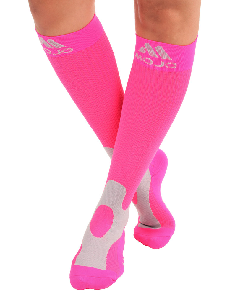 A601HP, Firm Support (20-30mmHg) Hot Pink Knee High Compression Socks, Front View