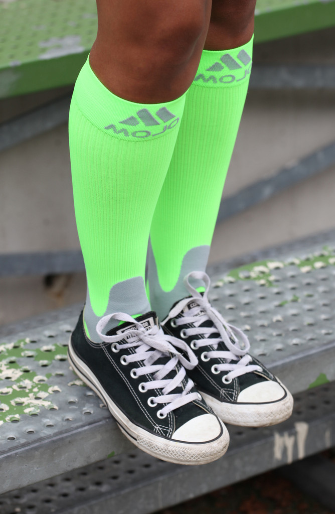 A601NG, Firm Support (20-30mmHg) Neon Green Knee High Compression Socks, Rear View