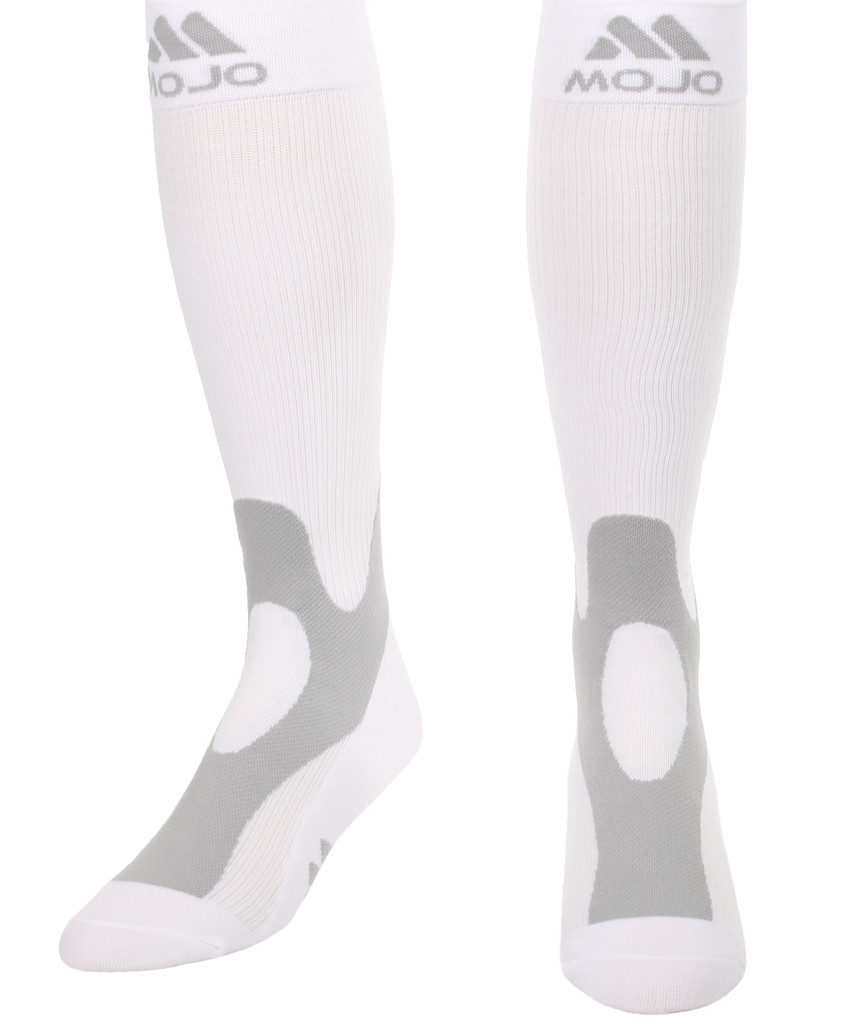 A601WH, Firm Support (20-30mmHg) White Knee High Compression Socks, Front View