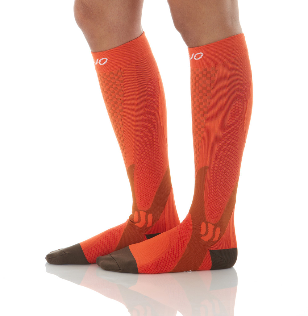 A602OR, Firm Support (20-30mmHg) Orange Knee High Compression Socks, Rear View