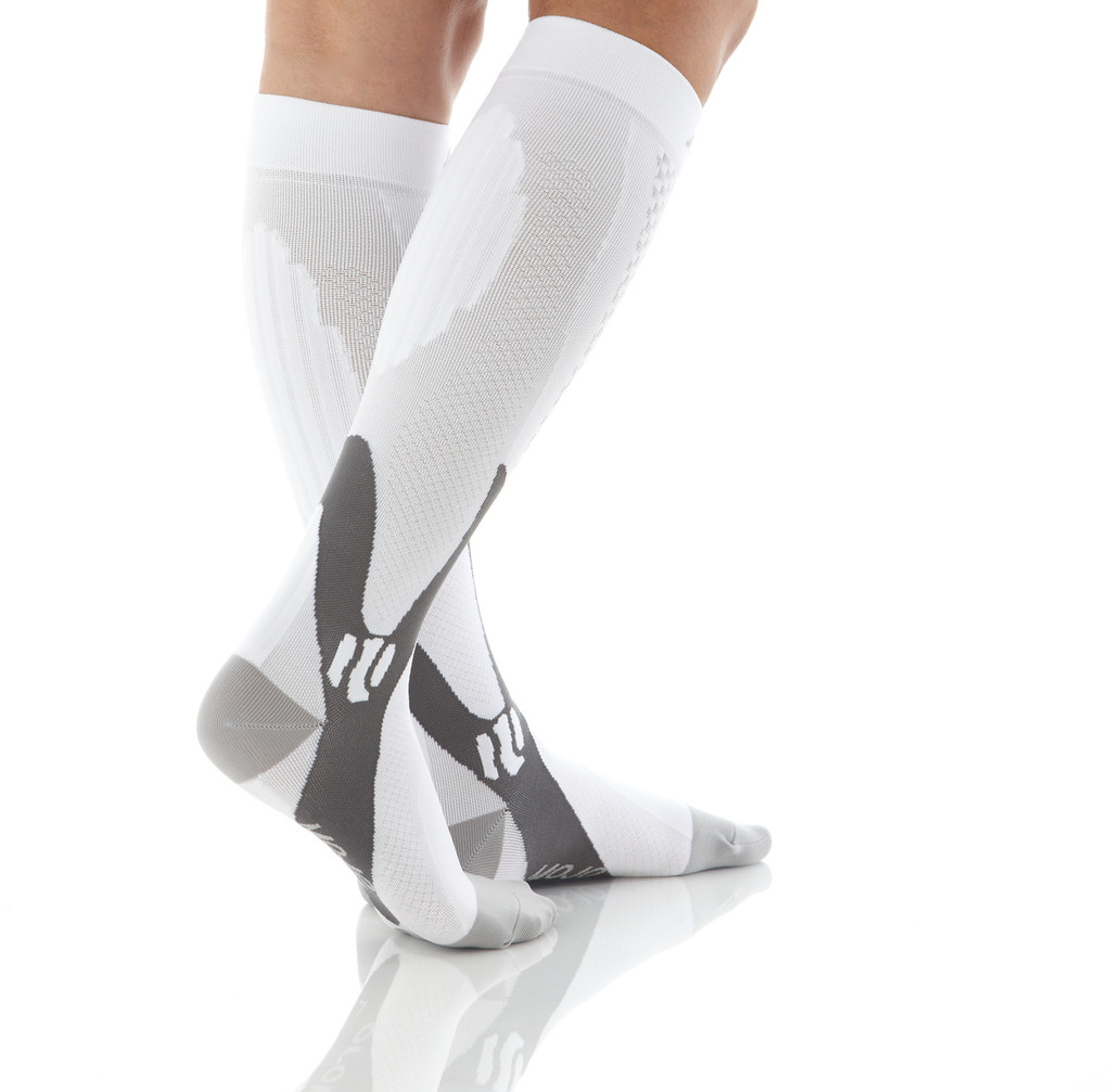 A602WH, Firm Support (20-30mmHg) White Knee High Compression Socks, Back View
