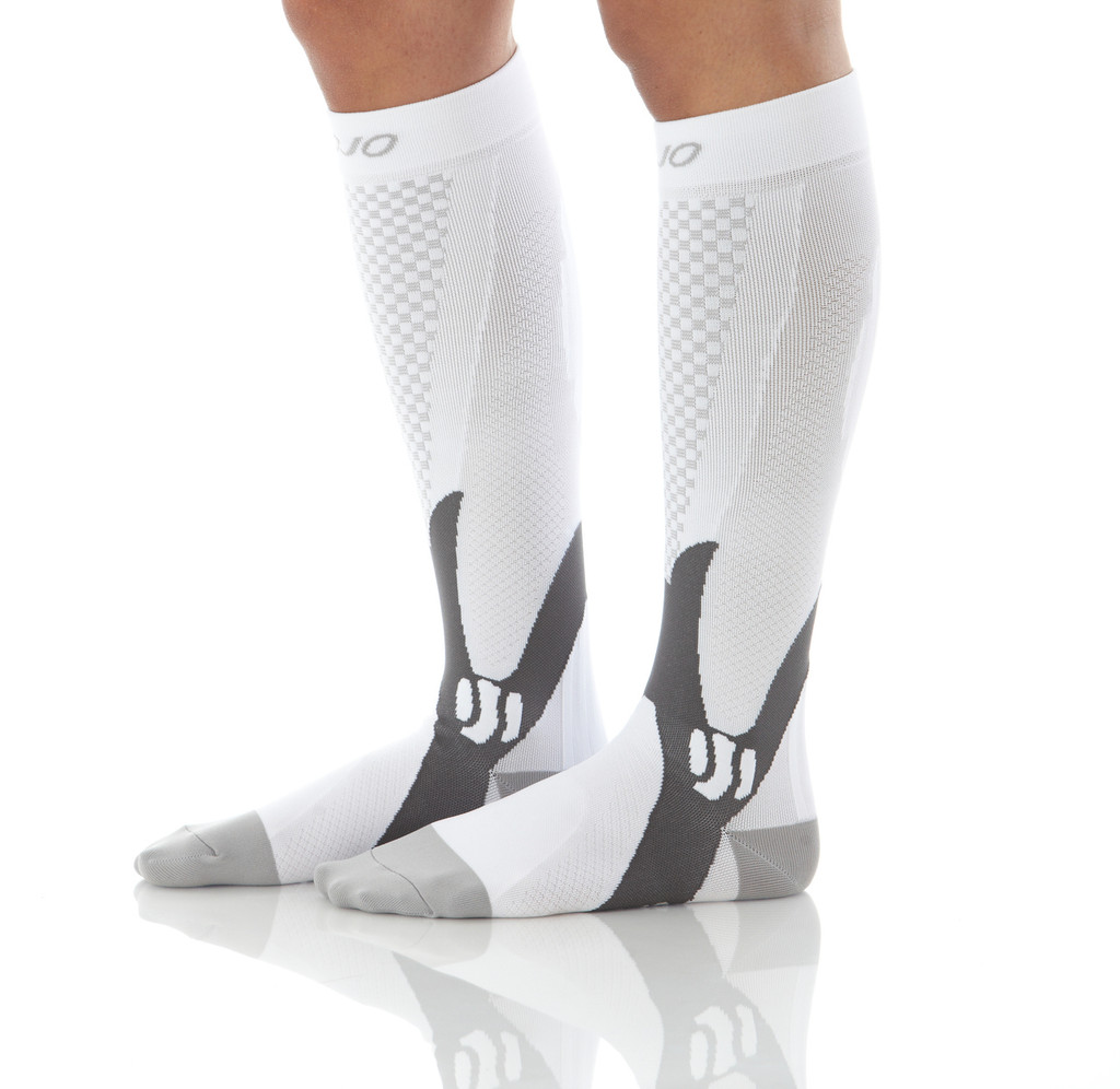 A602WH, Firm Support (20-30mmHg) White Knee High Compression Socks, Side View