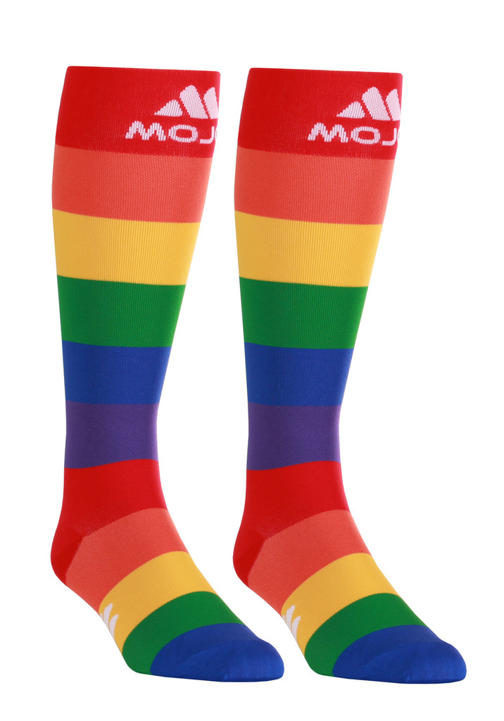 M906PR, Firm Support (20-30mmHg) Pride Knee High Compression Socks, Rear View