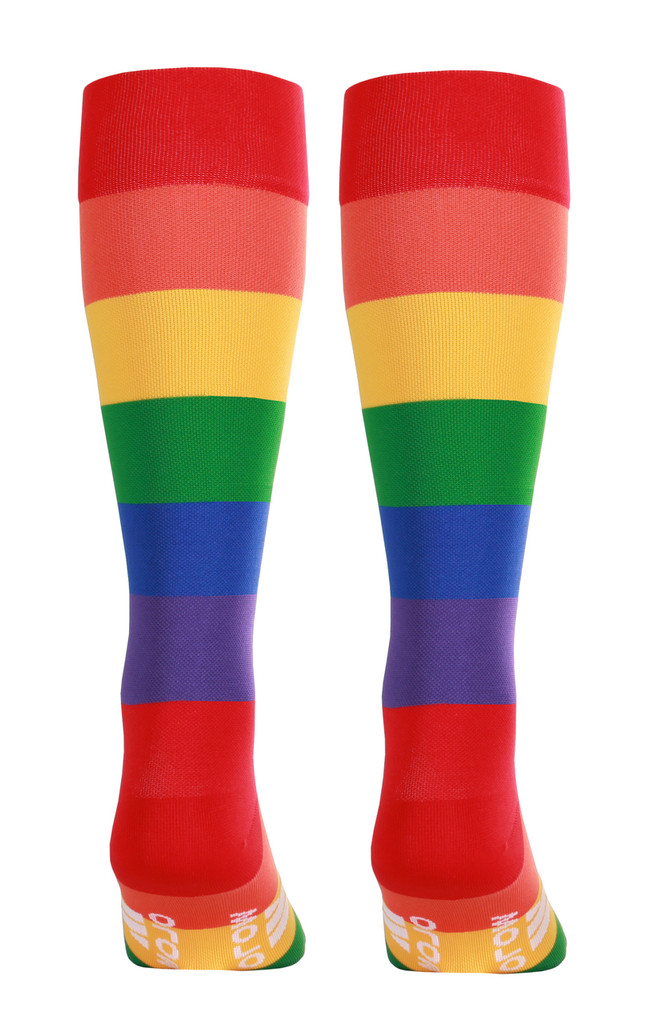 M906PR, Firm Support (20-30mmHg) Pride Knee High Compression Socks, Back View