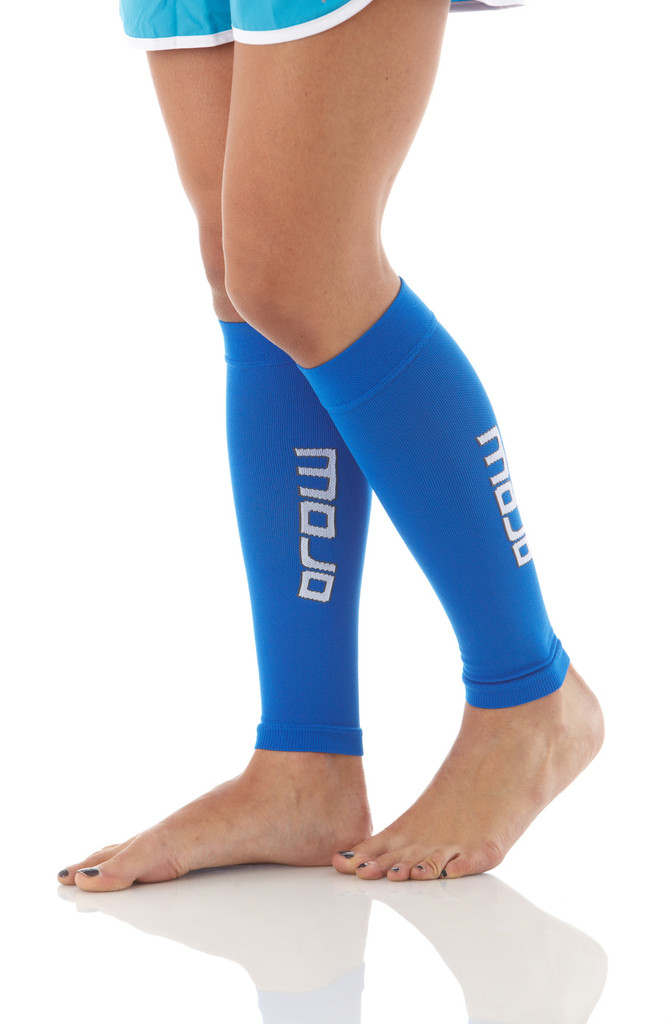 A605Blue, Firm Support (20-30mmHg) Blue Knee High Compression Socks, Side View