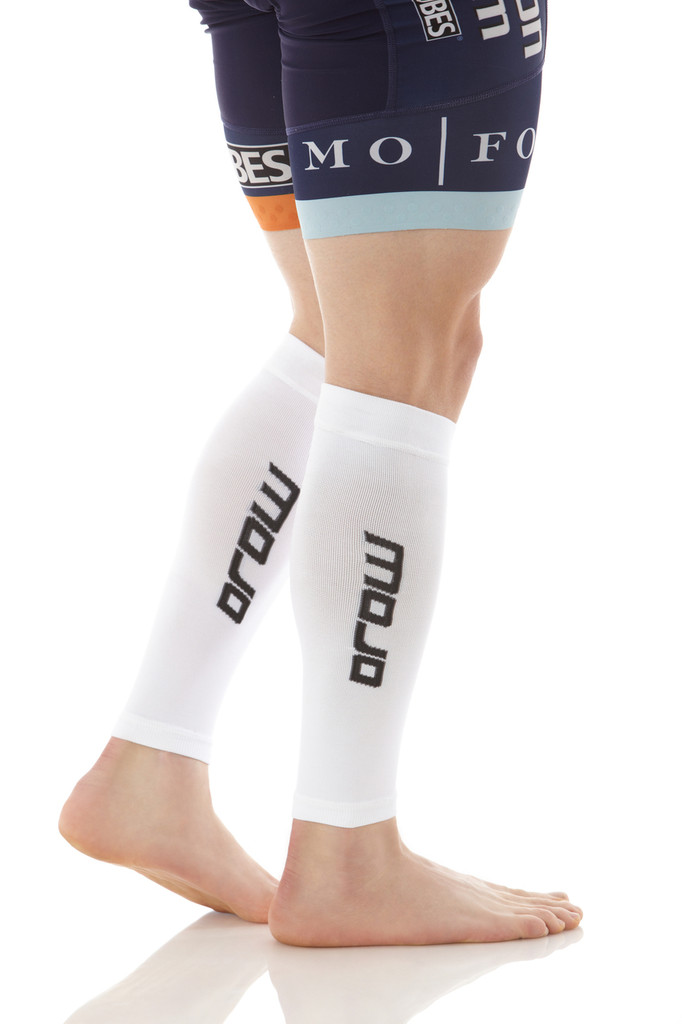A605WH, Firm Support (20-30mmHg) White Knee High Compression Socks, Side View