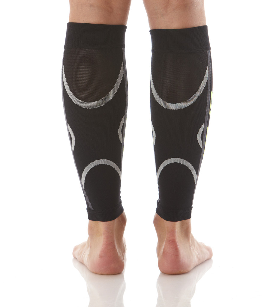 A607BL, Firm Support (20-30mmHg) Black Knee High Compression Socks, Back View