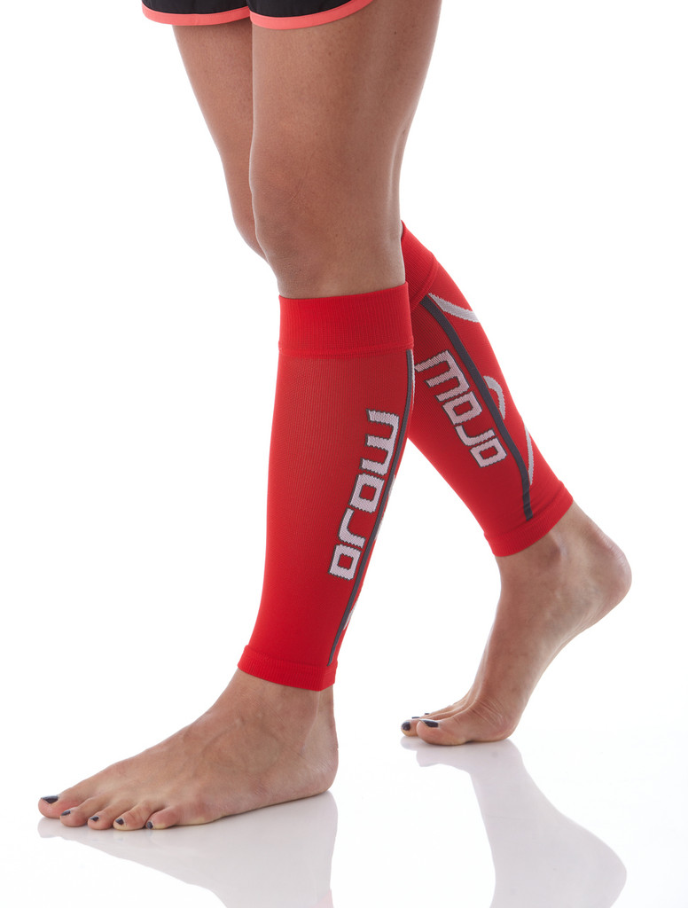 A607RED, Firm Support (20-30mmHg) Red Knee High Compression Socks, Rear View
