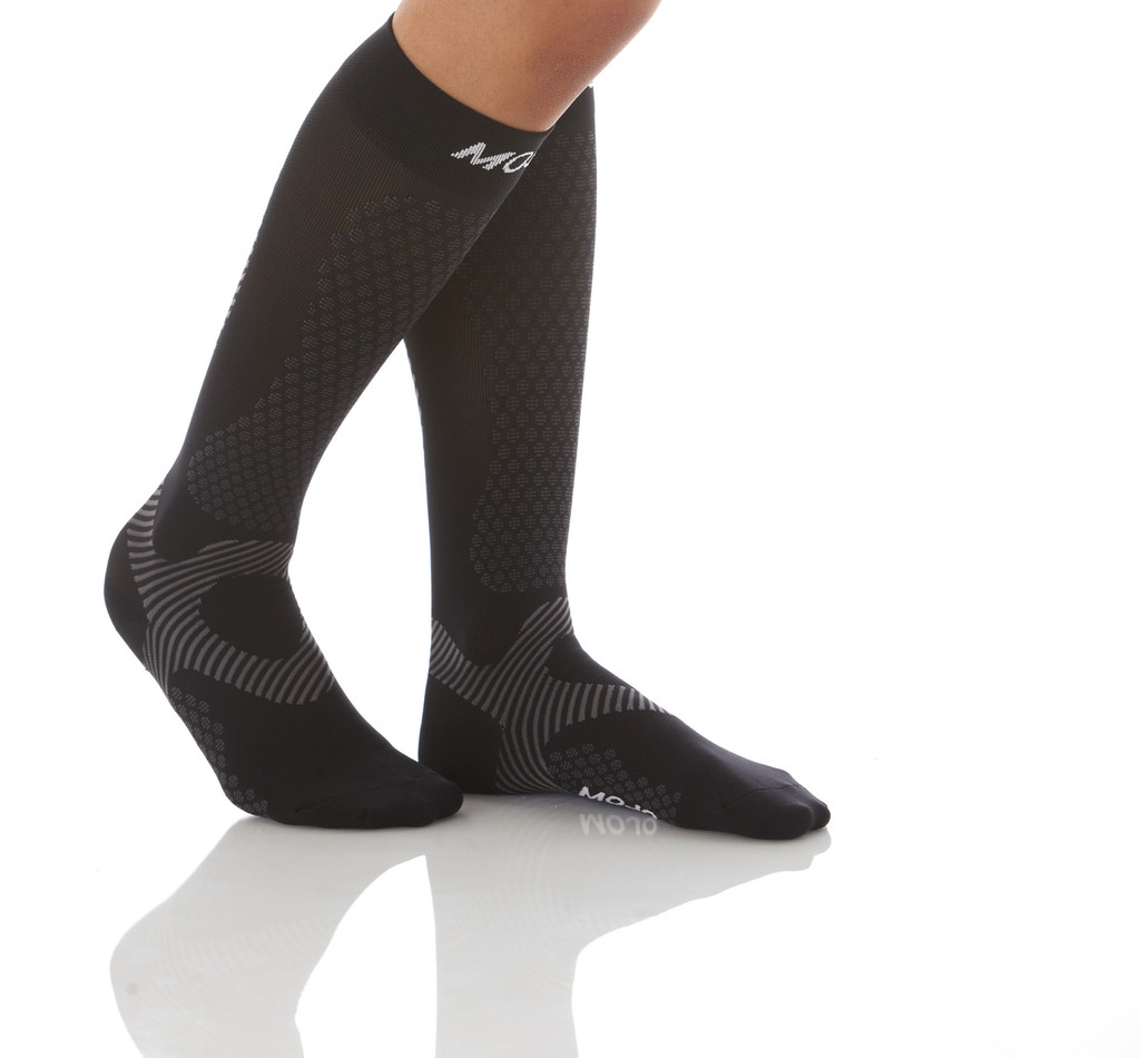 A603BL, Firm Support (20-30mmHg) Black Knee High Compression Socks, Rear View