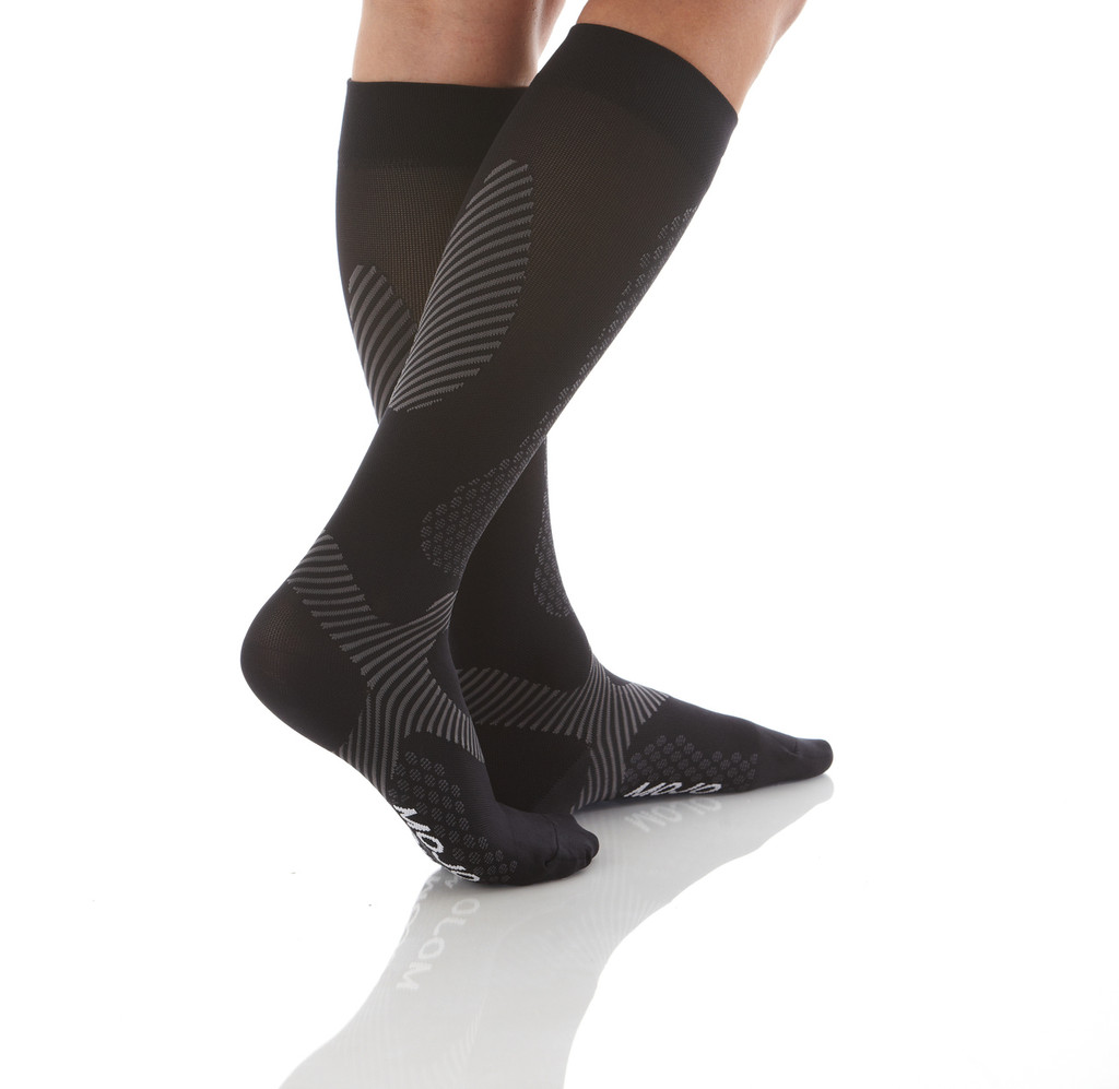 A603BL, Firm Support (20-30mmHg) Black Knee High Compression Socks, Back View