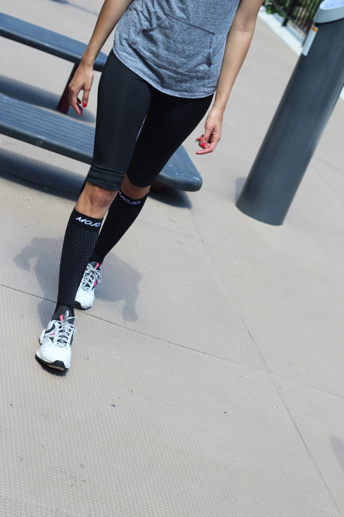 A603BL, Firm Support (20-30mmHg) Black Knee High Compression Socks, Front View