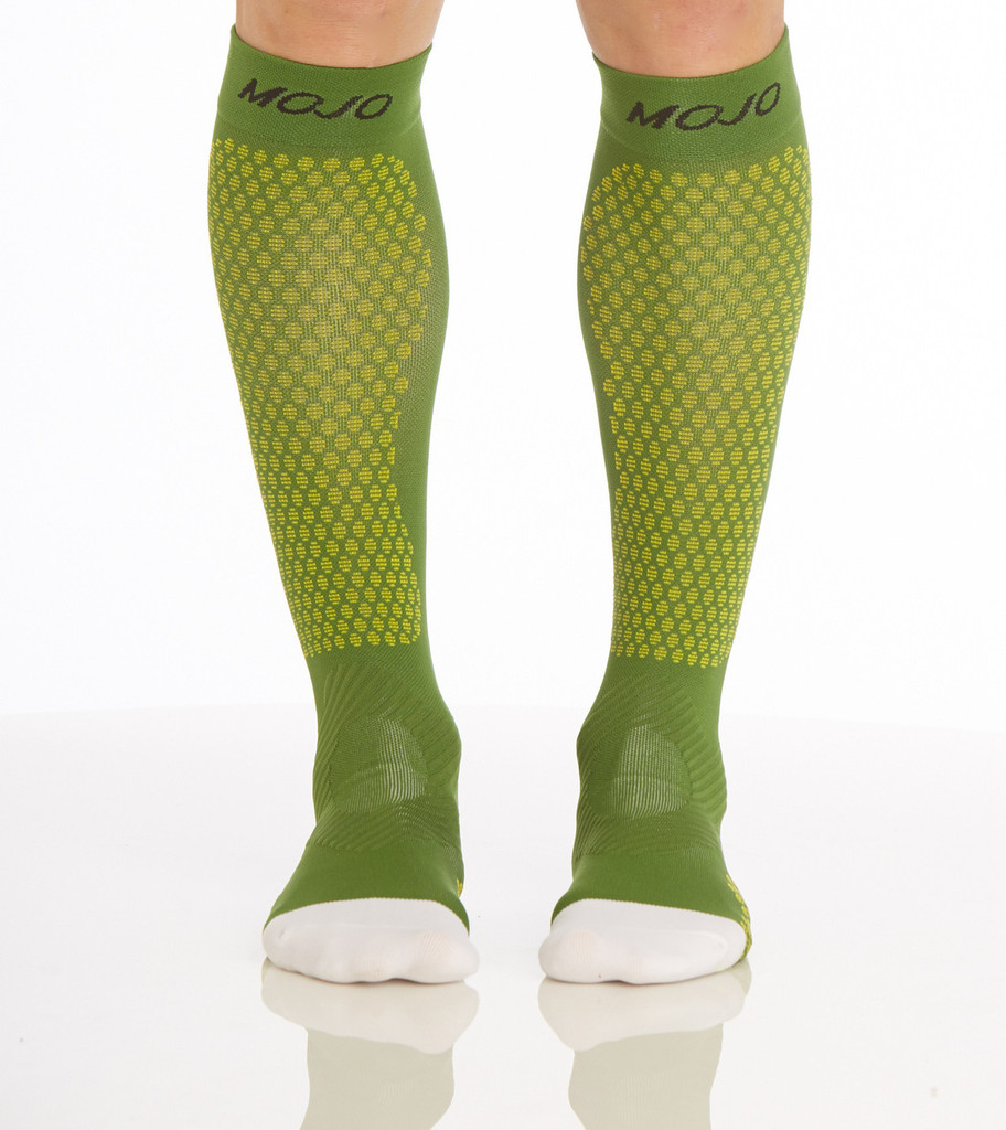 A603GR, , Firm Support (20-30mmHg) Green Knee High Compression Socks, Front View