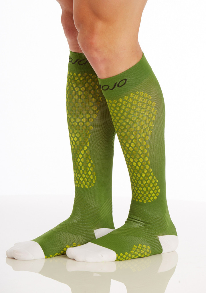 A603GR, , Firm Support (20-30mmHg) Green Knee High Compression Socks, Side View