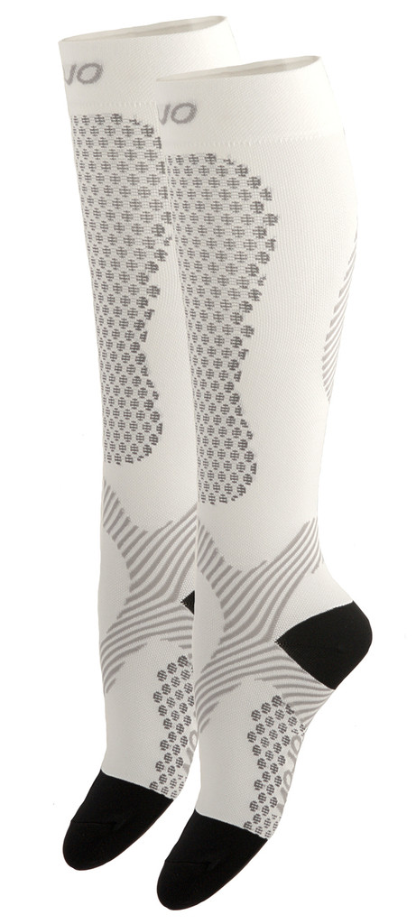 A603WH, Firm Support (20-30mmHg) White Knee High Compression Socks, Side View