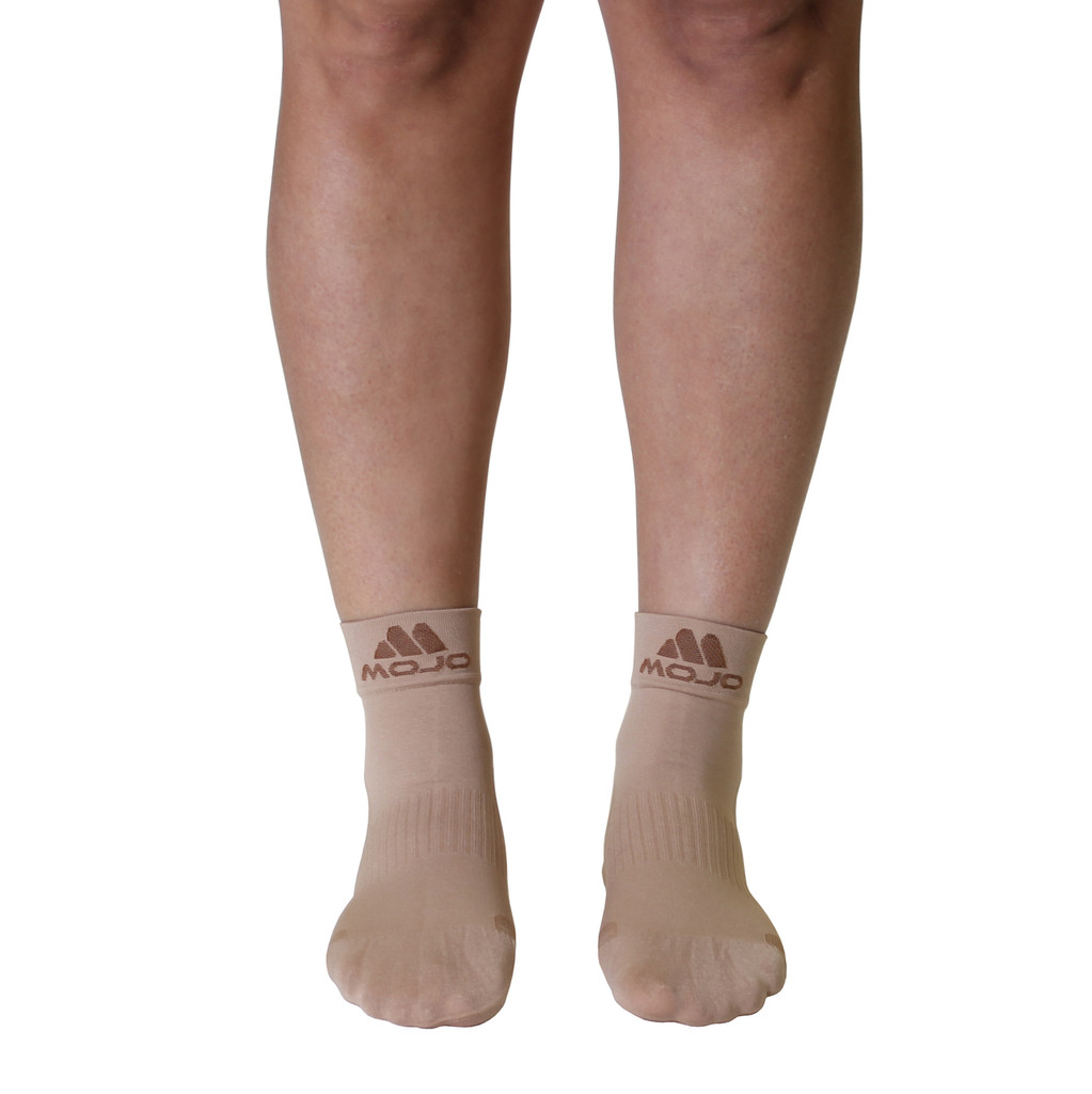Mojo Compression Socks Plantar Fasciitis Closed-Toe Compression Socks - Beige
