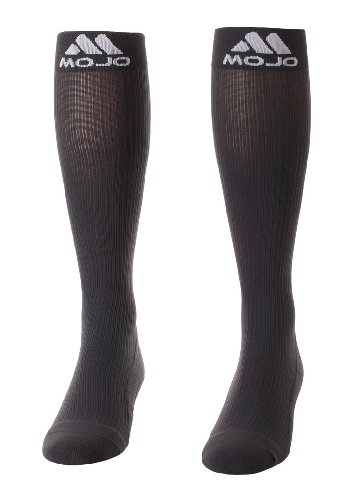 M809CG, Firm Support (20-30mmHg) Carbon Gray Knee High Compression Socks, Front View