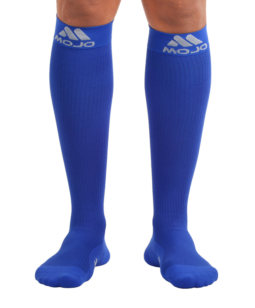M809RB, Firm Support (20-30mmHg) Royal Blue Knee High Compression Socks, Front View