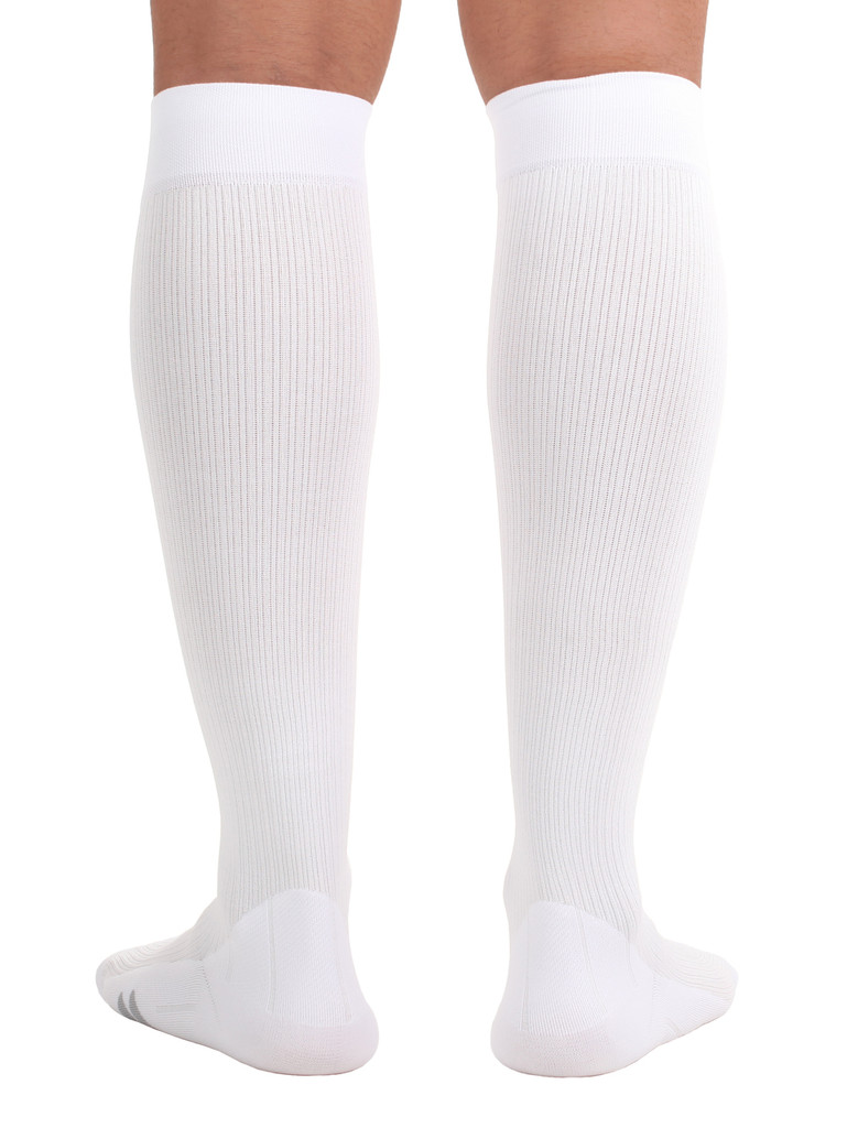 M809WH, Firm Support (20-30mmHg) White Knee High Compression Socks, Back View