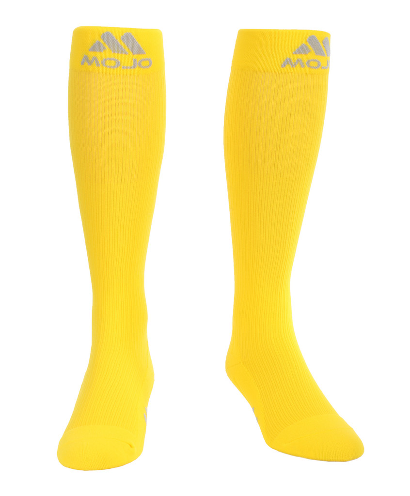 M809YE, Firm Support (20-30mmHg) Yellow Knee High Compression Socks, Front View