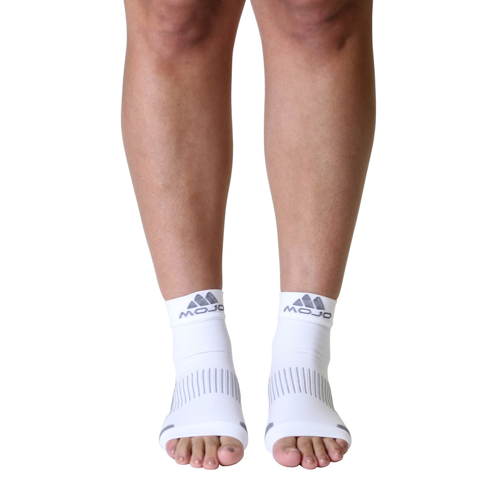 Mojo Compression Socks™ Plantar Fasciitis Open-Toe Compression Socks White
