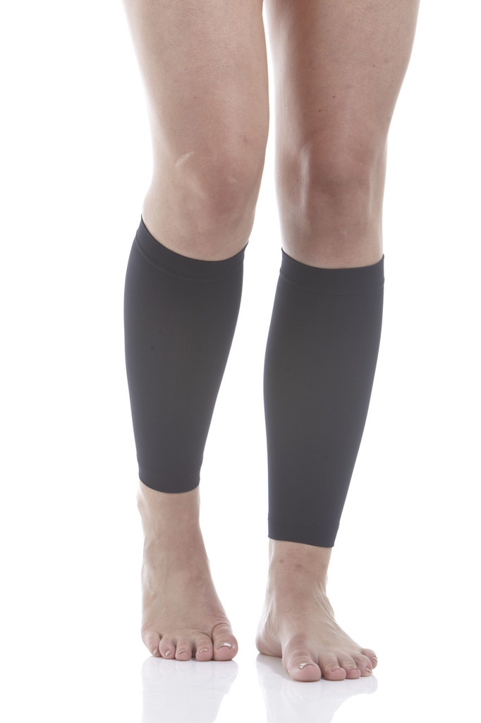 A712BL, Firm Support (20-30mmHg) Black Knee High Compression Socks, Front View