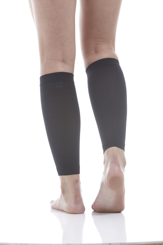 A712BL, Firm Support (20-30mmHg) Black Knee High Compression Socks, Back View
