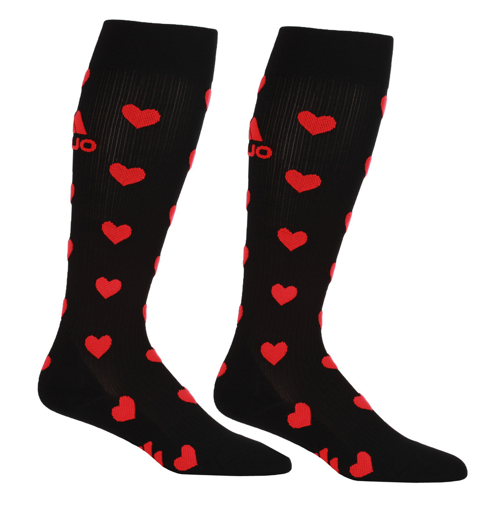 M906BH, Firm Support (20-30mmHg) Black Heart Knee High Compression Socks, Rear View