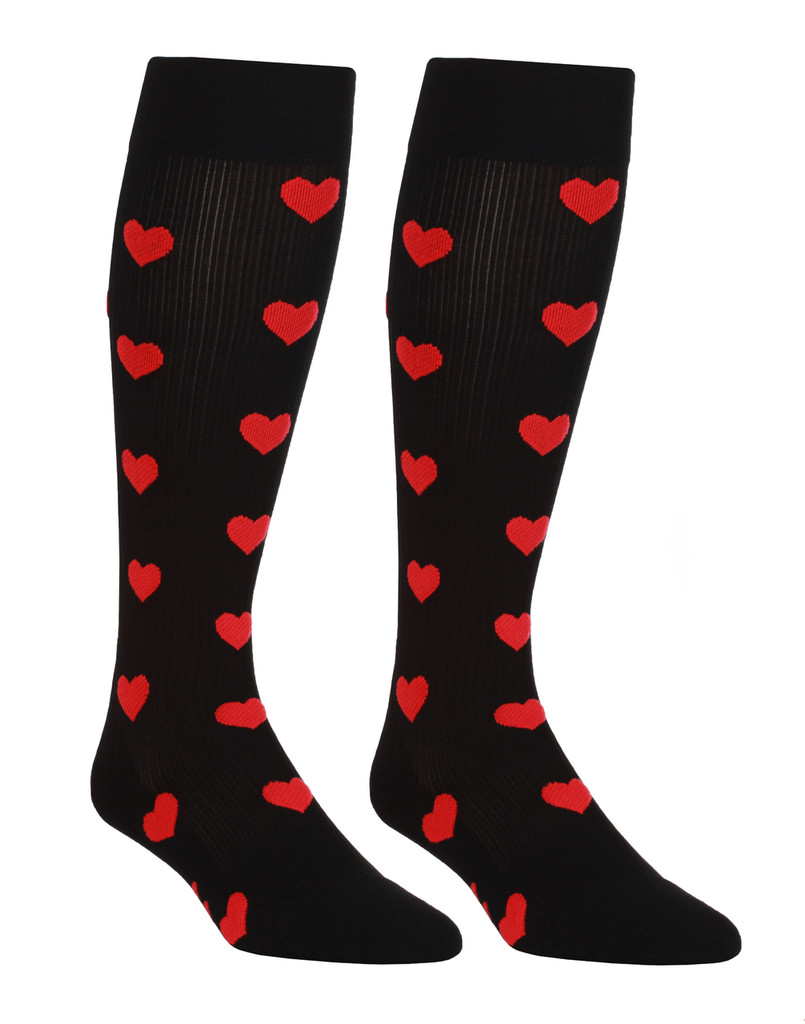 M906BH, Firm Support (20-30mmHg) Black Heart Knee High Compression Socks, Back View